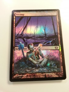 A M14 Gnawing Zombie composited onto an 8th edition swamp.